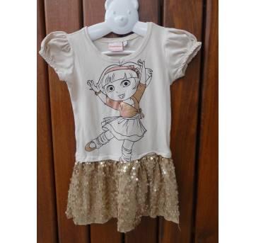 Vestido Dora Aventureira Dourado Paetê - Tamanho 2