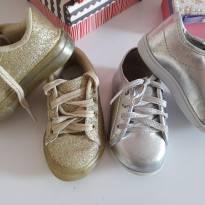 Kit tenis prata e dourado gliter - 20 - Não informada