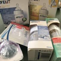 Kit Novo - 3 mamadeiras Avent, 1 mamadeira Dr Browns, 2 pacotes de bicos -  - Avent Philips e Dr Brown`s