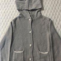 Jaqueta infantil de tricô listrado com capuz - 12 a 18 meses - Teddy Boom