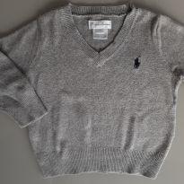Suéter gola V Ralph Lauren cinza - 9 meses - Ralph Lauren
