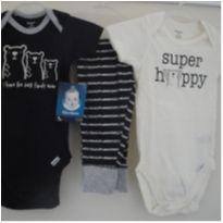 kit 2 bodys + calça, marca Gerber, novo, 3/6 meses, novo com etiqueta. - 3 a 6 meses - Gerber