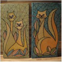 2 quadros decorativos GATOS 40 cm x 20 cm Pintura acrílica mista -  - Não informada