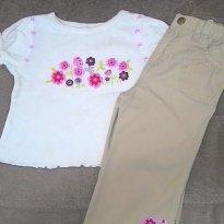 Conjunto Calça e Blusa Marron Bordado - 18 meses - George