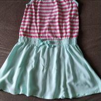 Vestido Verde com Listras Rosa - 7 anos - Crazy 8