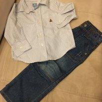 Camisa Social Baby Gap + Calça Jeans TIP TOP - 1 ano - Baby Gap