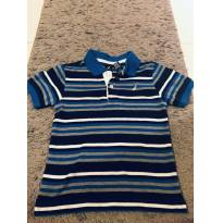 Camiseta Masculina Infantil Gola Polo listrada Azul - 4 anos - Nautica