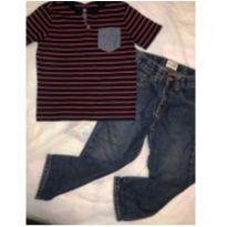 Blusa Listrada + calça jeans - 2 anos - Children`s Place