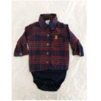 Camisa/body xadrez - 6 a 9 meses - yoyo Baby